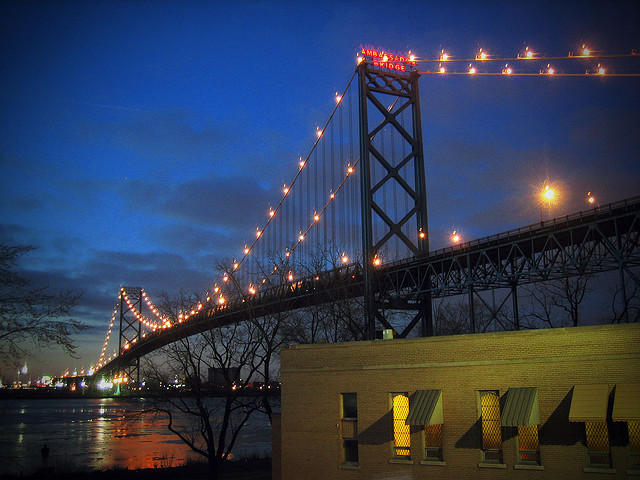 The Ambassador Bridge spans the Detroit River and connects Michigan to Canada.
