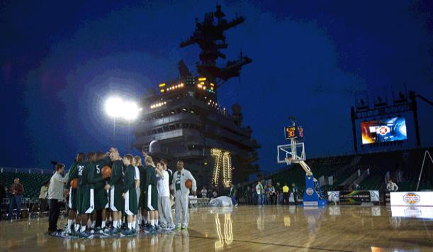 Hoops on an aircraft carrier. MSU will play North Carolina Chapel Hill tonight at 7 p.m. President Obama will attend.