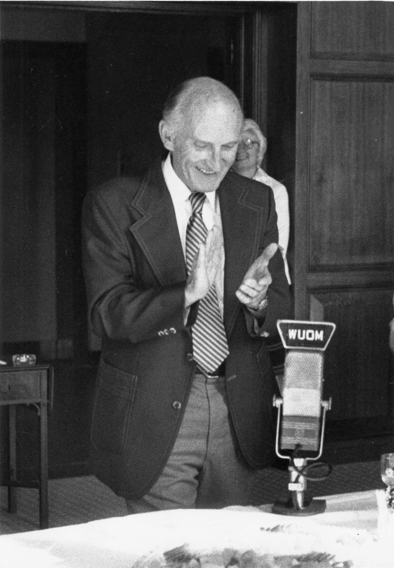 Edwin G. Burrows at his WUOM retirement party.