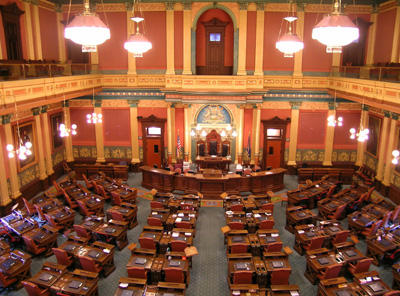 After the frenzy, all is quiet inside the Michigan House of Representatives.