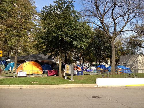 The group pitched tents Oct. 14 in the park
