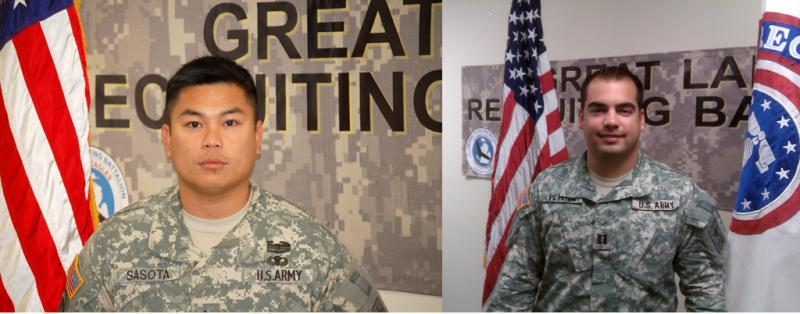 Staff Sergeant Vic Anthony Sasota and Captain Brandon Petrick of the Army's Great Lakes Battalion Lansing recruiting office. Petrick says he was the first in his family to serve in the military. Sasota joined in remembrance of his father.