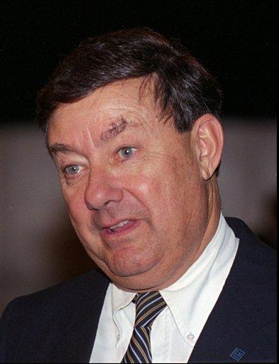 In this May 1993 file photo, General Motors Chairman John G. Smale appears at the automaker's annual meeting in Oklahoma City.