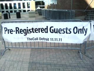 A banner outside TheCall: Detroit at Ford Field.