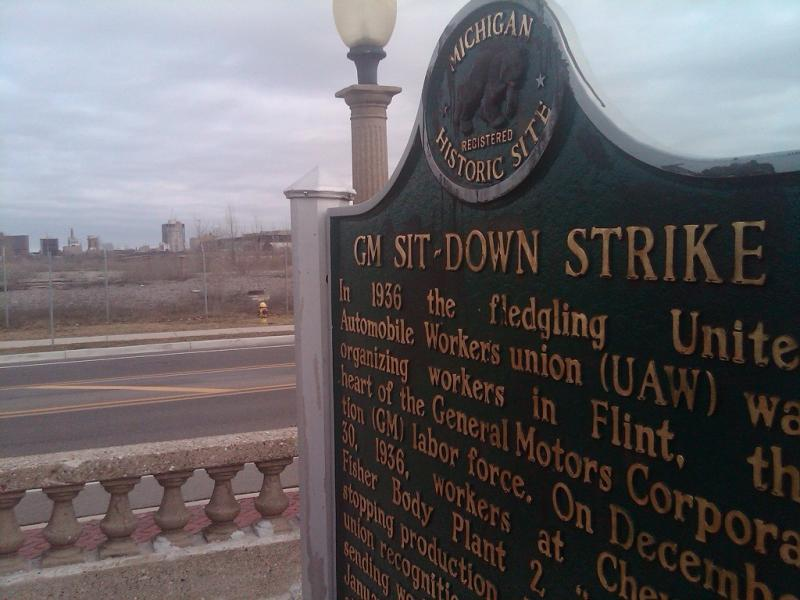 A state historic marker pays tribute to the Flint Sit Down Strike.