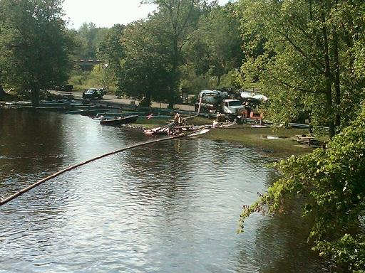 A view of cleanup work along the Kalamazoo River near Battle Creek in August, 2010