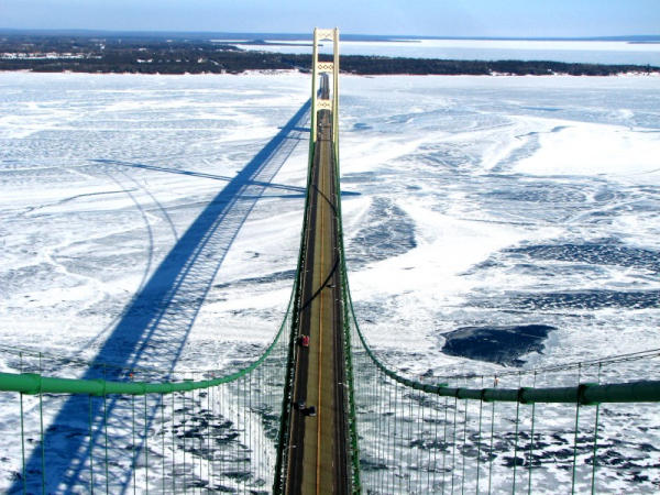 The Mackinac Bridge in February of 2007. Rates for crossing the bridge are going up this January.
