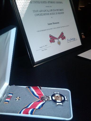 The Law Enforcement Congressional Badge for Bravery and certificate honoring former Jackson police officer James Bonneau