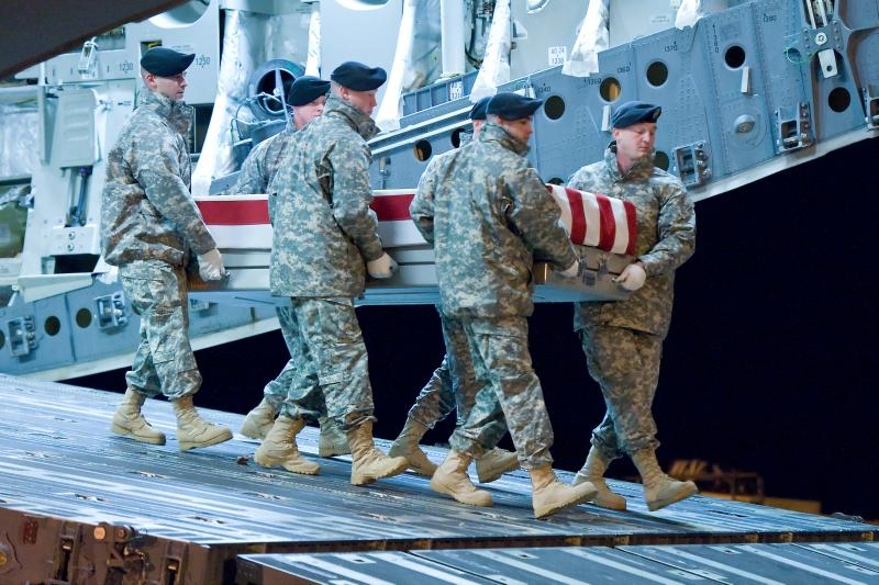 A U.S. Army carry team transfers the remains of Army Pvt. Jackie L. Diener II. Diener was from Boyne City. Flags in Michigan are being lowered today in his honor.