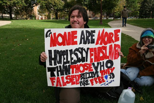 An occupier in Lansing on October 1. Protesters have broken camp in Lansing.