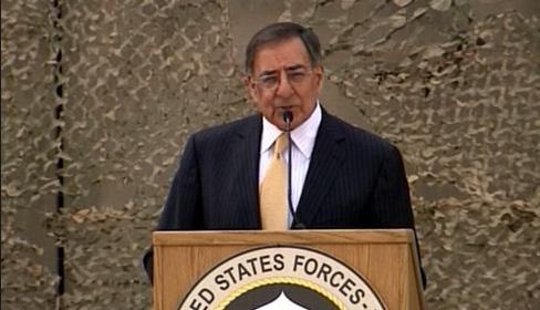 "U.S. Defense Secretary Leon Panetta speaks at a ceremony marking the end of the U.S. mission in Iraq. ""The cost was high. The blood and treasure of the United States and also for the Iraqi people,"" Panetta said."