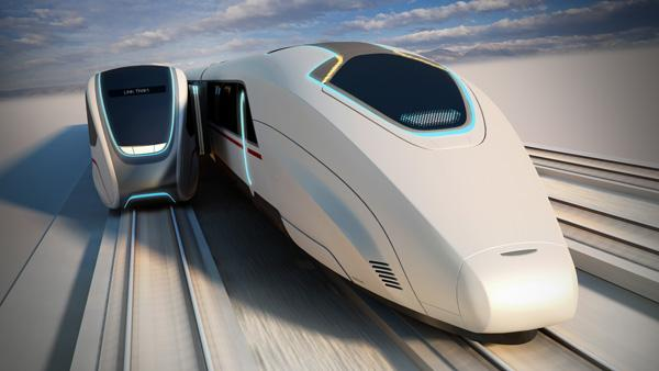 The concept: A moving platform docks with a high speed train.