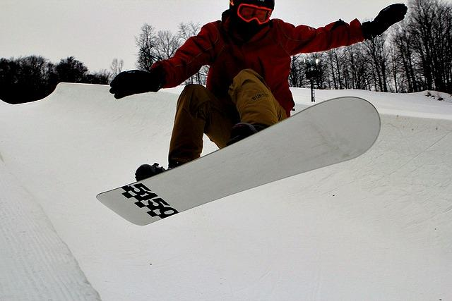 A snowboarder on Boyne Mountain in Northwest Michigan.