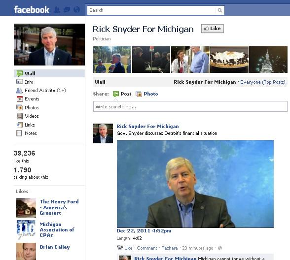 Snyder talks about Detroit on Facebook.