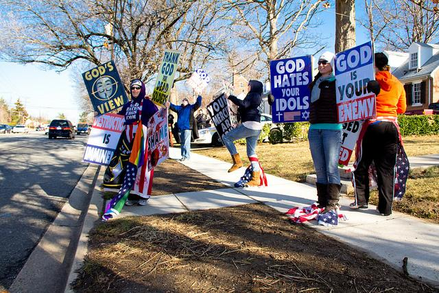 Protestors from the Westboro Baptist Church often stage protests at military funerals