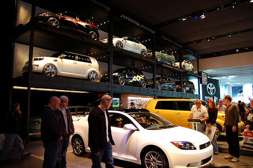 On the floor of the North American International Auto Show at Cobo Hall in Detroit, 2008.