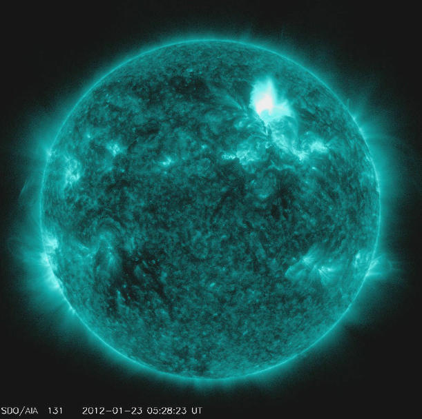An image from the solar storm on Jan. 22.