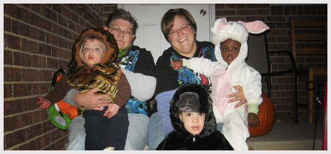 Jayne Rowse, left, and April DeBoer with their three children.