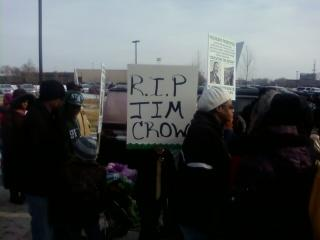 People line up for the MLK Legacy march outside Detroit's Martin Luther King high school