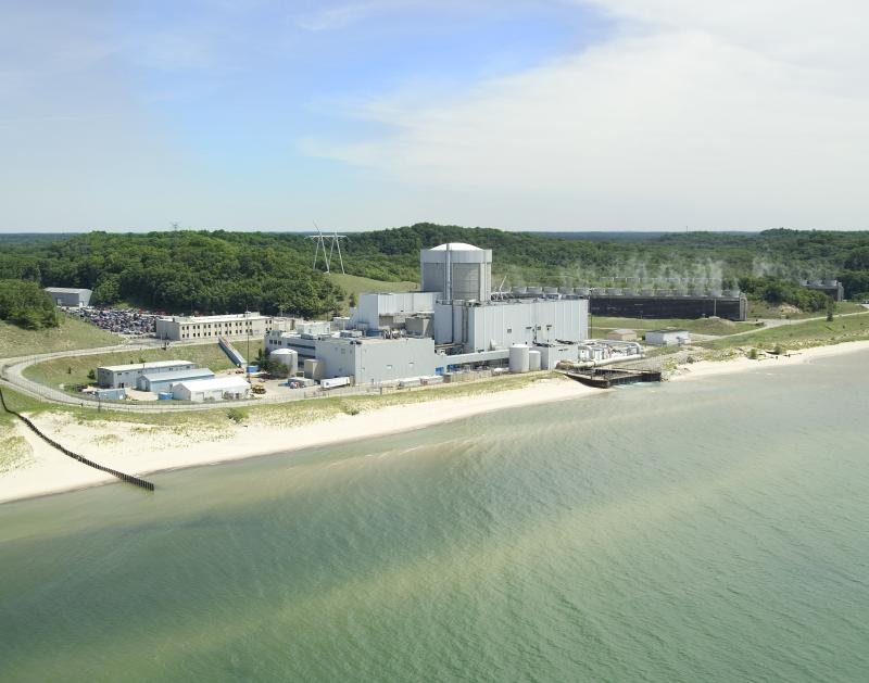 The Palisades nuclear power plant on the Lake Michigan shoreline.