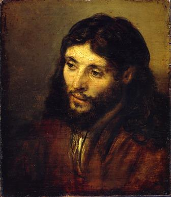 Head of Christ, Rembrandt van Rijn, oil on oak panel, c. 1648-50. Staatliche Museen Preussicher Kulturbesitz, Gemäldegalerie, Berlin