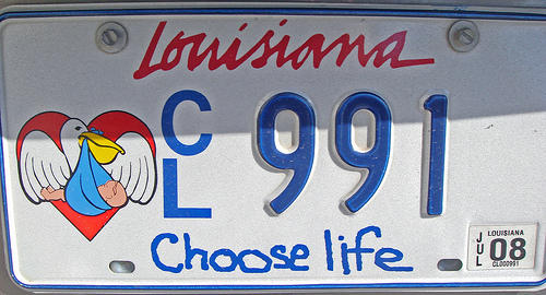 "Almost half of all U.S. states currently have ""Right to Life"" license plates such as this one in Louisiana."