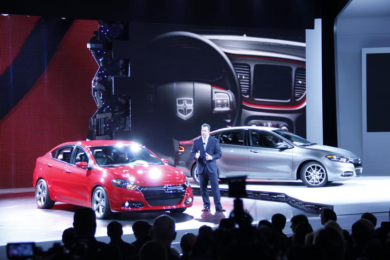 Reed Bigland, Head of Dodge Brand reveals the new 2013 Dodge Dart at the Detroit Auto Show.
