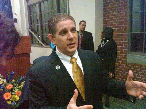 Lansing mayor Virg Bernero talks to reporters after he delivered his 7th State of the City address last evening