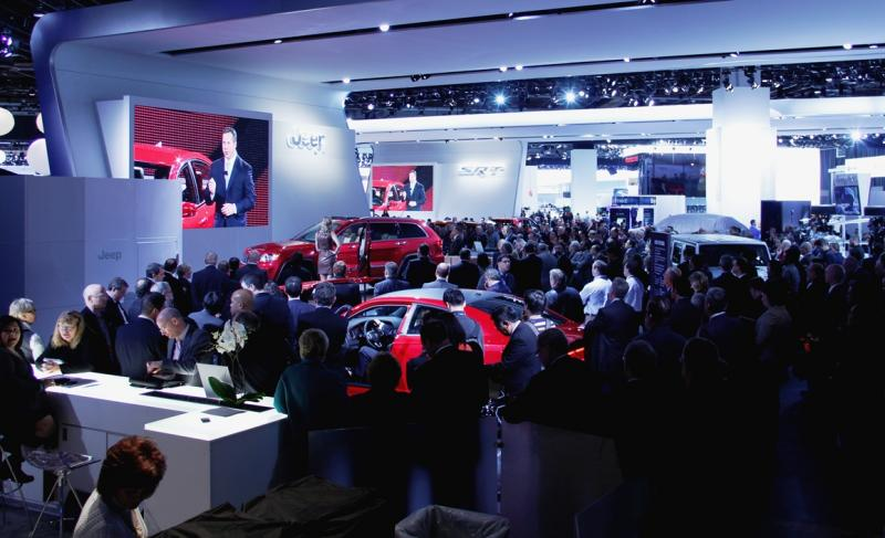A crowd listens to Reid Bigland, President of Dodge brand at the North American International Auto Show in Detroit.