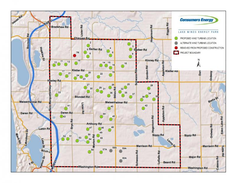 Consumers Energy map of the Lake Winds Energy Park in Mason County. Construction of access roads and turbine bases began in November 2011.