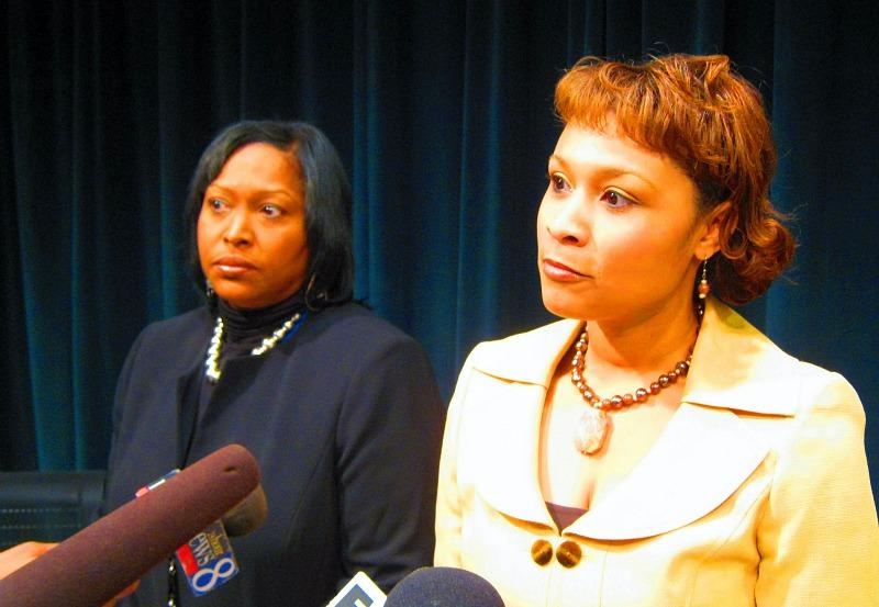Grand Rapids School Board President Senita Lenear (right) stands with Interim Superintendent Teresa Weatherall Neal (left) to answer questions from the media after Monday night's board meeting.