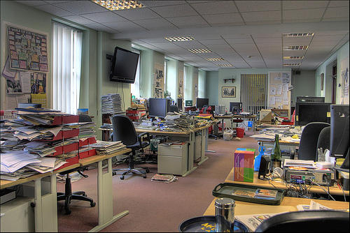 A random newsroom is pictured here to protect the chaotic innocents.