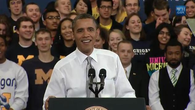 President Obama speaking to a crowd at the University of Michigan during his last visit to the state.