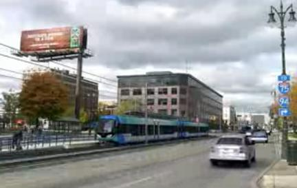 An artist's rendering of light rail on Woodward Ave.