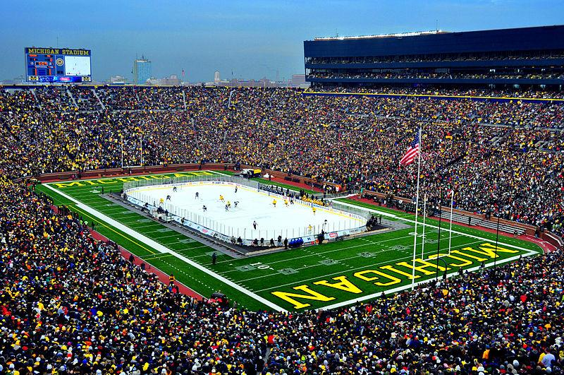 The last time a hockey game took place at the Big House the U of M Wolverines defeated the MSU Spartans 5-0, before a crowd of more than 100,000 fans in December, 2010.