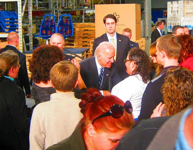 Vice President Joe Biden greets workers at American Seating Company in Grand Rapids after his 40 minute long speech Wednesday.