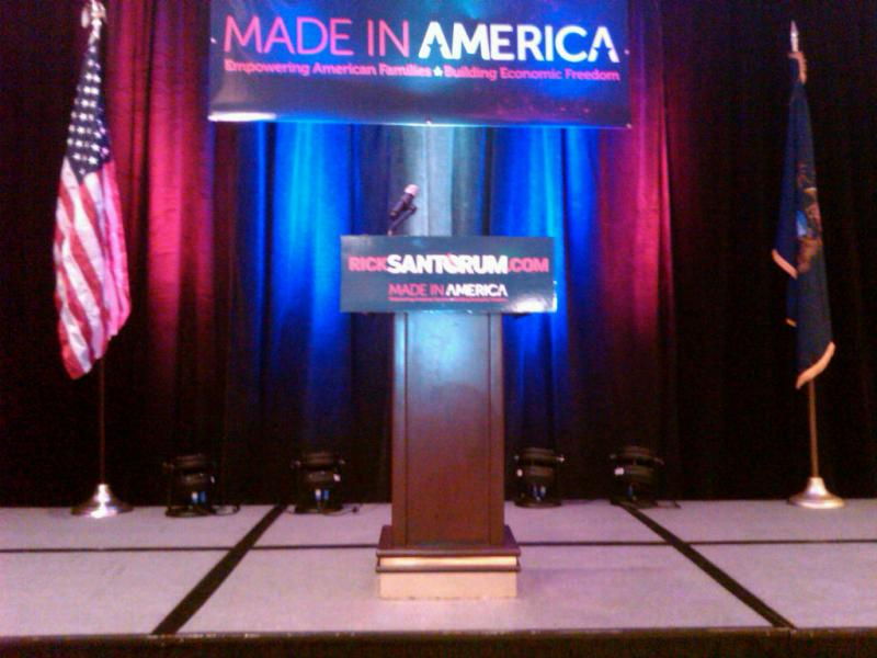 The stage is set for Rick Santorum at the Grand Amway Hotel in Grand Rapids.