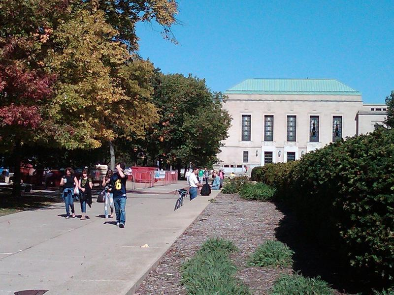 Students walk on the University of Michigan's Ann Arbor campus (file photo)