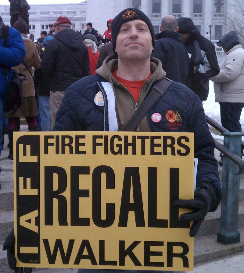 Cory Roberts says he worries what will happen to his fellow firefighters after a number of towns in Wisconsin have tried to balance their budgets by increasing pension and healthcare costs for public safety workers.