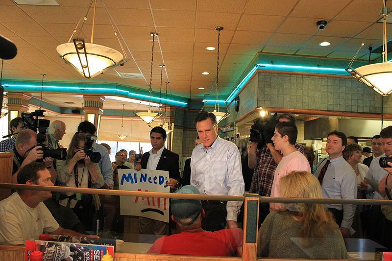 Mitt Romney campaigning in Livonia last year