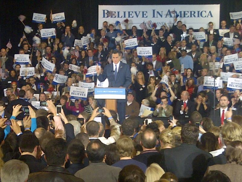 Mitt Romney address supporters after his victory in Michigan.
