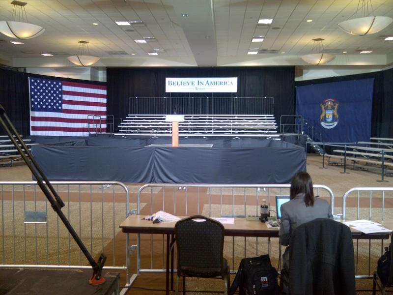 The stage for the Mitt Romney campaign party in Novi.