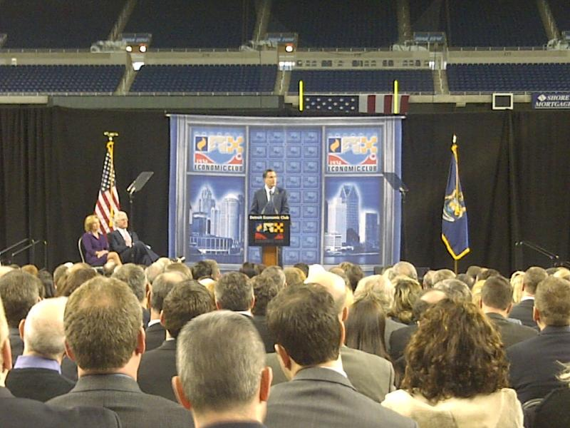 Mitt Romney addresses the Detroit Economic Club at Ford Field in Detroit.