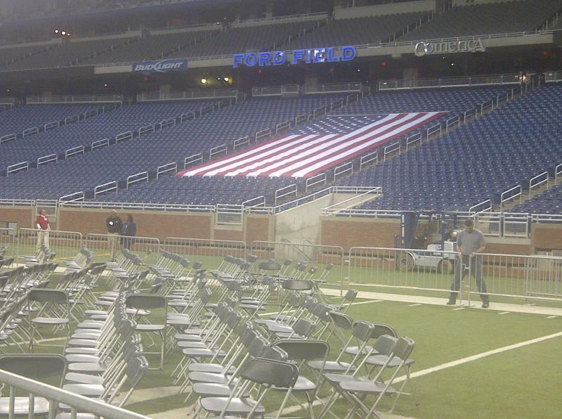Chairs at the Romney event at Ford Field today.