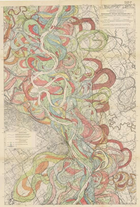 A close up image of one of the vintage survey maps that served as inspiration for artist Leslie Sobel's Watershed Moments series.
