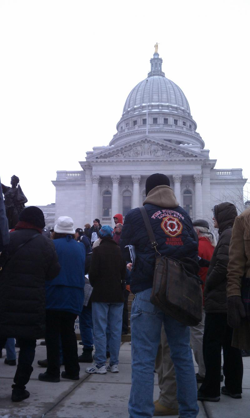 The Solidarity Sing Along outside the Capitol building in Madison, Wisconsin