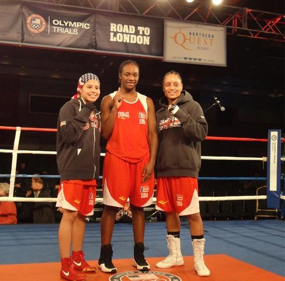 February 19, 2012 Marlen Esparza, Queen Underwood and Claressa Shields (middle) made history on Saturday by becoming the first-ever U.S. Olympic Team Trials for Women's Boxing Champions