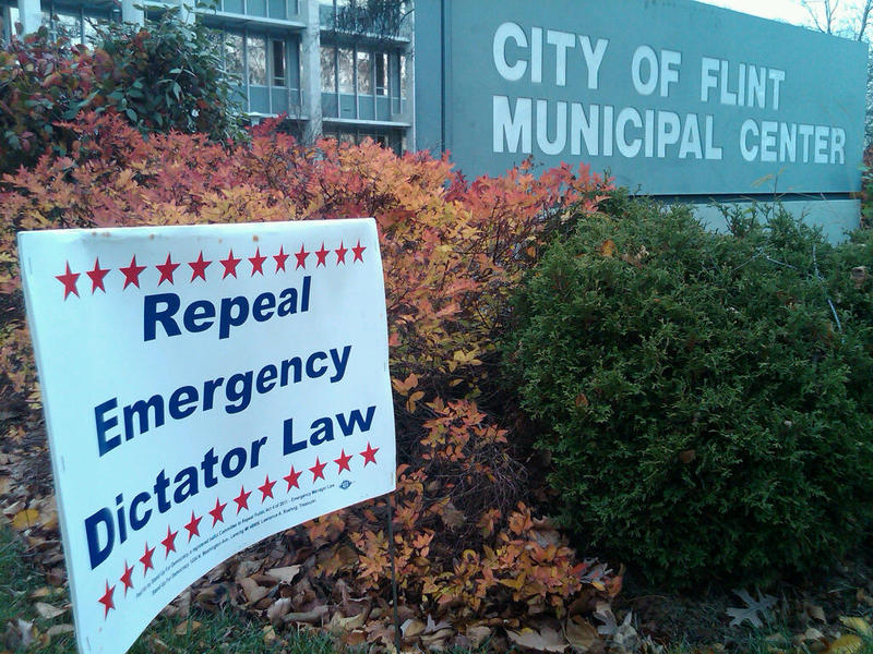 It's been a few months since opponents of Michigan's emergency manager law planted this lawn sign in front of Flint's municipal building.   Tonight, EM Michael Brown will talk about what he's been doing.