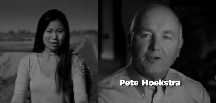 Screen shots of Pete Hoekstra's Super Bowl ad. The ad generated buzz, but some are wondering if it's the right kind of buzz.
