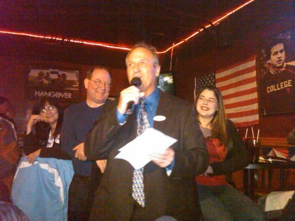 State Representative-elect Joe Graves talks to his supporters after winning Tuesday's special election